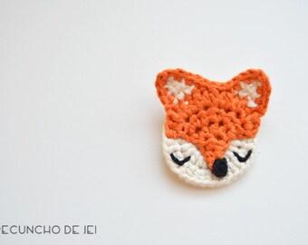 Snap Fox, crochet brooch, clasp Fox Fox, crochet, Cotton Crochet Fox, Cute Crochet Fox Brooch, Crochet Fox accessory