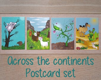 postcards set (4x) 'Across the Continents'
