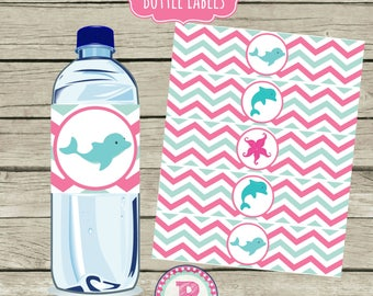 Dolphin Birthday Party Drink Wraps Water Bottle labels Starfish Beach Ocean Pool Party Instant Download Splish Splash Chevron Pink Aqua Blue
