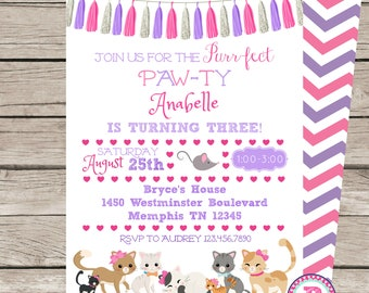 PRINTED Kitten Birthday Party Invitation Front Back Chevron Tassels Purrfect Pawty Cat Adopt a Pet Kitten Party Purple Pink Bow Glitter Girl