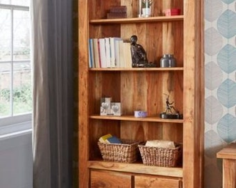 Metro tall bookcase - 2 drawer storage - Solid wood - Acacia handmade - Rustic