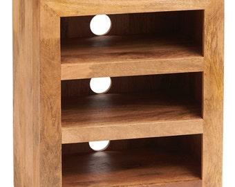 Toko light mango wooden hi-fi cabinet - 3 shelf storage