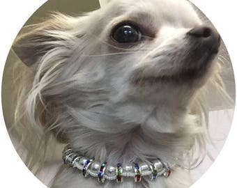 XS Toy Dog Necklace, Glitzy Glamour Rainbow Crystal & Pearl Necklace for furry glamour princesses about town, Handbag dog chic