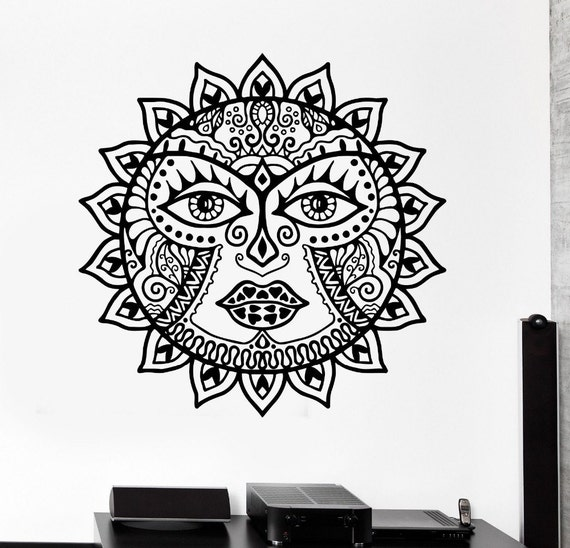 Vinyl Wall Decal - Classic Sun Flowers mandala wall decal Scorpion Ornament Mural om wall stickers Living room Home decal flower
