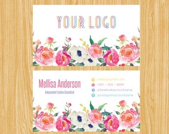 Business Card,Personalized Business Calling Card, Floral Small Business Card03