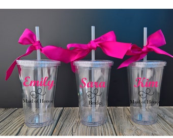 5 Personalized Acrylic Tumblers ~ Custom Tumbler ~ Wedding Party Gift ~ Bride ~ Maid Matron of Honor ~ Gift ~ Cup ~ Made to Order