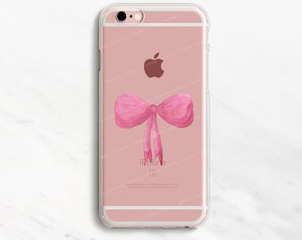 Pink Bow iPhone 7 Case Clear iPhone 6 Plus Case Clear Phone Case Clear iPhone 6 Case Clear iPhone 5s Case