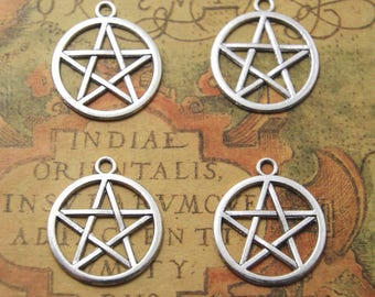 15pcs Pentagram Charms Silver Tone ,Pentagram pendants 24x28mm ASD1115