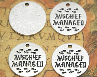 15pcs HP Mischief Managed Charms silver tone Marauders Map charm pendant 20mm ASD2460