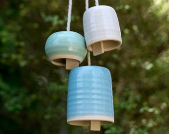 Handmade Small Round Ceramic Bell Wind Chime Ready To Ship