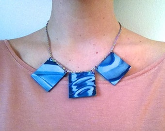 Water Waves Inspired Statement Necklace Elegant Bib Necklace Polymer Clay