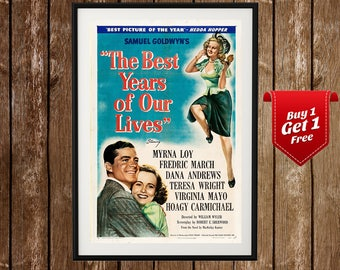 The Best Years of Our Lives Vintage Movie Poster - Samuel Goldwyn, Myrna Loy, 1940s Movie, Wartime Movie, Classic Film Poster, Vintage