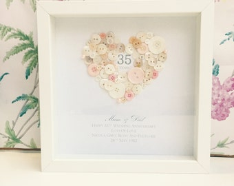 Wedding Anniversary, Personalised 35th Wedding Anniversary Coral