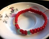 Three Wishes Lucky Chinese Red String Bracelet with Natural Aventurine Beads