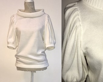 1980's White Sweater Knit Sweater Women's Sweater Knitted Blouse Romantic Top 3/4 Puff Sleeves Boatneck,
