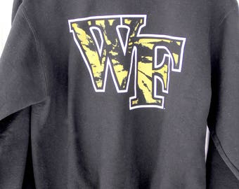 90's Vintage WAKE FOREST Black Sweatshirt Demon Deacons Wake Forest University Winston Salem North Carolina Size Small
