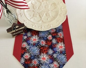 "Fireworks and Stars Table Runner 12"" x 36"" , 12"" x 41"". 12"" x 70"", or 13"" x 72"" sizes/ 4th of July / Patriotic / Red, White, and Blue"