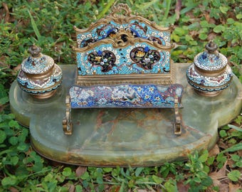 Antique large French Champleve bronze and onyx inkwell