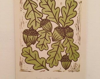 Acorns & Oak Leaves Handprinted Lino Print