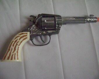 Vintage Cap Gun, Frontier 45 American West Cap Gun Pistol, Die Cast, White Grips, Revolving Cylinder