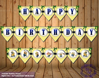 Minions Birthday Banner.Minions Party Banner.Minions Party Theme.Minions Party Decor.Minions Printable Bunting.Minions.Party Banners.Decor.