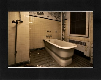 """Custom Matted Print 0309. Abandoned: Marlboro State Mental Hospital, NJ. """"Patient Bath"""" - Collectable Photographic Artwork. (11"""" x 14"""")"""