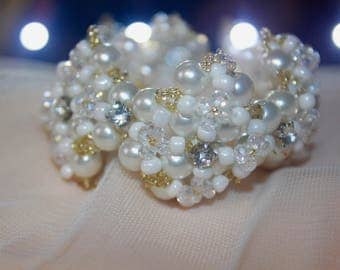 Triple square - white stone and crystal bracelet