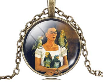 Pendant Frida Kahlo Frida necklace parrots cabochon glass image of Frida skulls
