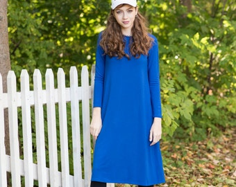 Tunic dress, midi dress, dress with sleeves, casual dress, modest dress