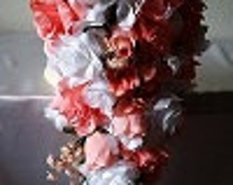 Coral Reef White Rose Hydrangea Cascading Bridal Wedding Bouquet & Boutonniere