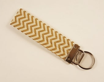 Gold and White Chevron Key Fob Wristlet