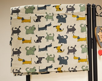Linen kitchen tea towel / colorful dogs