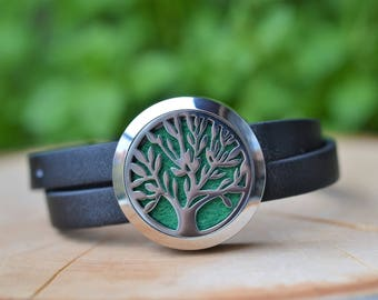 Tree Of Life Stainless Steel Essential Oil Diffuser Bracelet // Aromatherapy Leather Bracelet // With a Choice of Essential Oil (12 Variety)