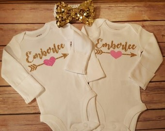 Personalized Monogramed Baby Girl Onesie, Perfect for Coming Home or Baby Shower, Pink and Gold Glitter, Bow Included