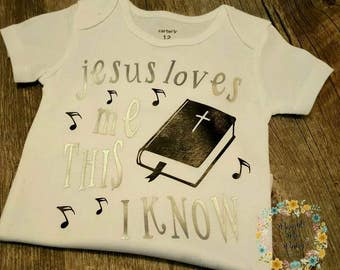 Preemie, Baby, Newborn, Unisex, Toddler, Jesus Loves Me, Onesie, Bodysuit, Coming Home, Baby Shower, Biblical, Bible, Song
