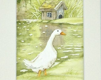 """Table watercolor """"a day in the country"""" the oie at the wash house"""