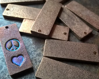 50pc, Rectangle Blanks, Antiqued, Rectangle Stamping Tags, Metal Stamping Blanks, Metal Pennant Blanks, Craft Supplies, Pennant Blanks
