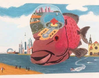 QingDao Red Fish oil painting art decor magical space