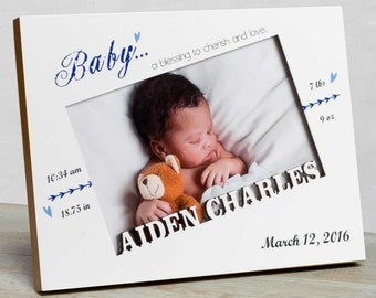 Personalized baby picture frame baby boy picture frame new personalized baby picture frame baby boy picture frame new baby boy birth frame negle Choice Image