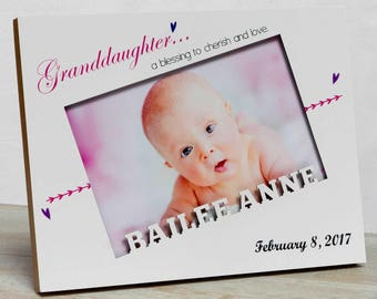 Personalized Baby Picture Frame, Baby Girl Picture Frame, New Baby Girl Frame, Grandparents Picture Frame,  Granddaughter Baby Frame