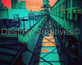 FREE SHIPPING // Distorted Reality Skyline// Abstract // Trippy // Bold // Orange, Green, Pink // Photograph //Seattle