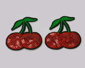 Beautiful Embroider cherry patch Iron on and sew.