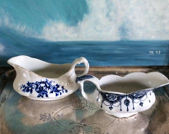 Blue and white gravy boats (2)