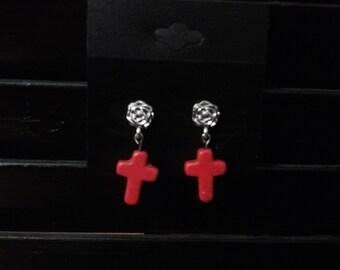 Rose Studed Pink Cross Earrings