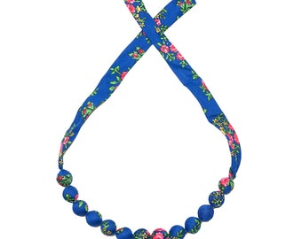 BLUE folk NECKLACE corals handmade etno scarf Poland with flowers