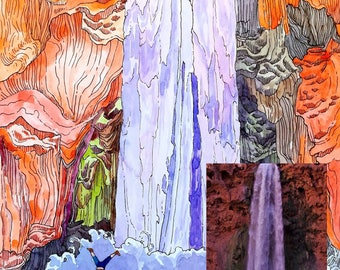 COMMISSION, Photo to painting, custom, original watercolor, Landscape painting, landscape art,engagement gift, wedding,