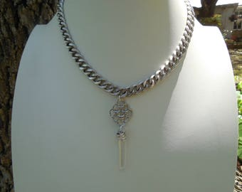 Antiqued Silver and Quartz Crystal Necklace