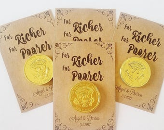 Wedding Favors For Richer For Poorer, Chocolate Coin Wedding Favors, Candy Wedding Favors, Personalized A Sweet End to A New Beginning