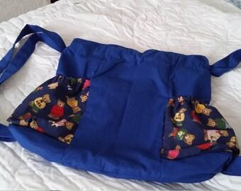 Blue backpack.