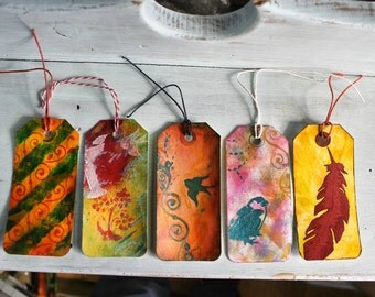 Art tags, mixed media tags, handmade gift tags, altered tags, colorful gift tags, set of 5
